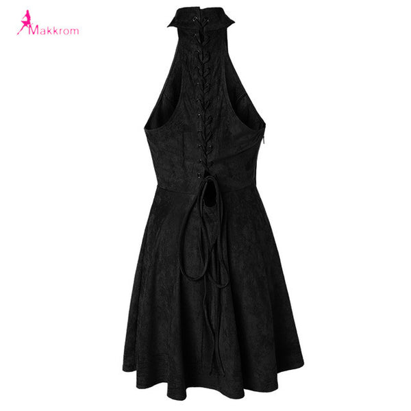 Makkrom 2017 Summer  Dress Woman Party Bandage Lace up Off Shoulder Sexy Backless Casual Solid Pleated Mini Dress Plus Size