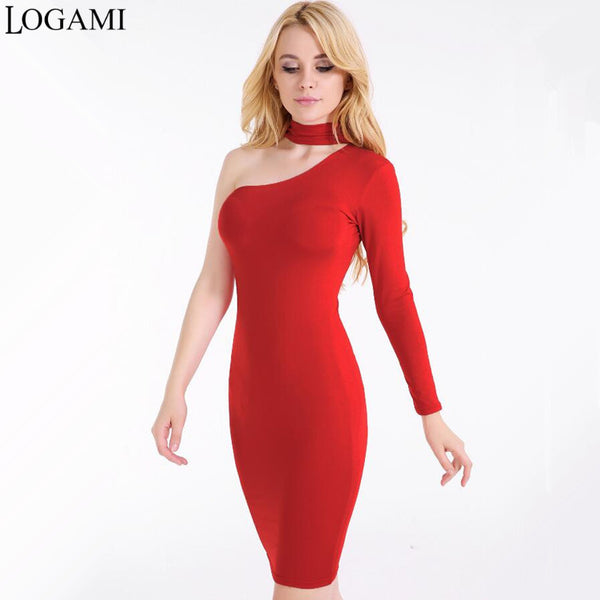 One Shoulder Dress Women White Black Red Navy Blue Sexy Party Dresses 2017 Bodycon Midi Dress Autumn Winer Vestidos De Festa