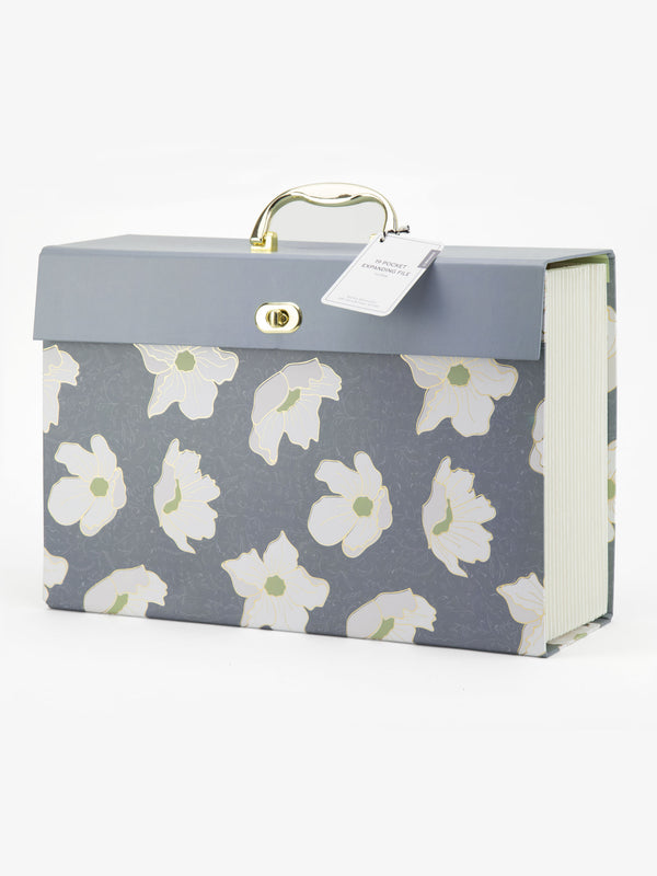 Blue Floral 19 Pocket Expandable File