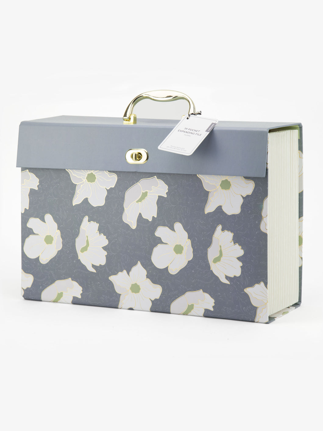 Bold Floral 19 Pocket Expandable File, Blue