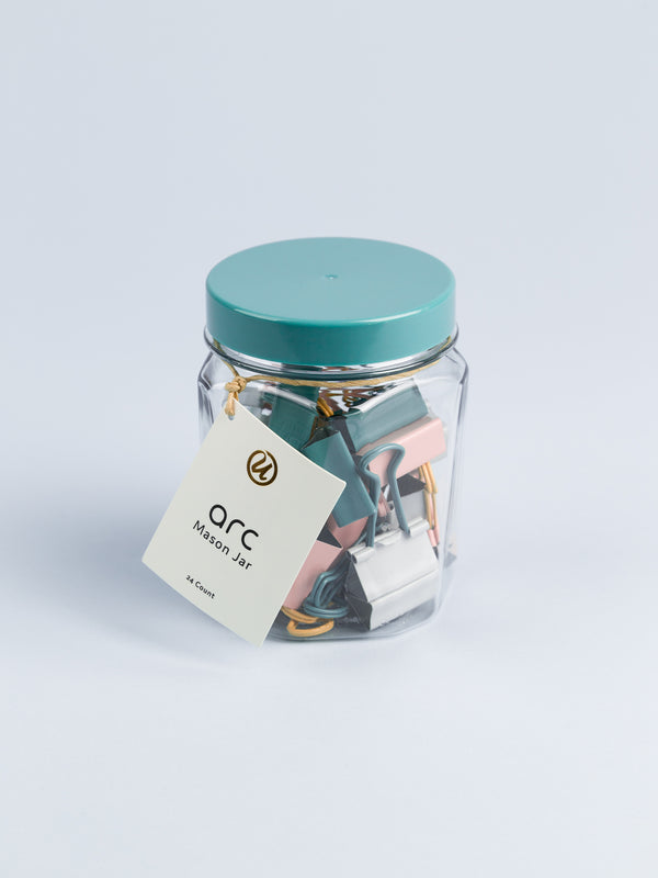 Arc Binder Clips in a Jar, Set of 24