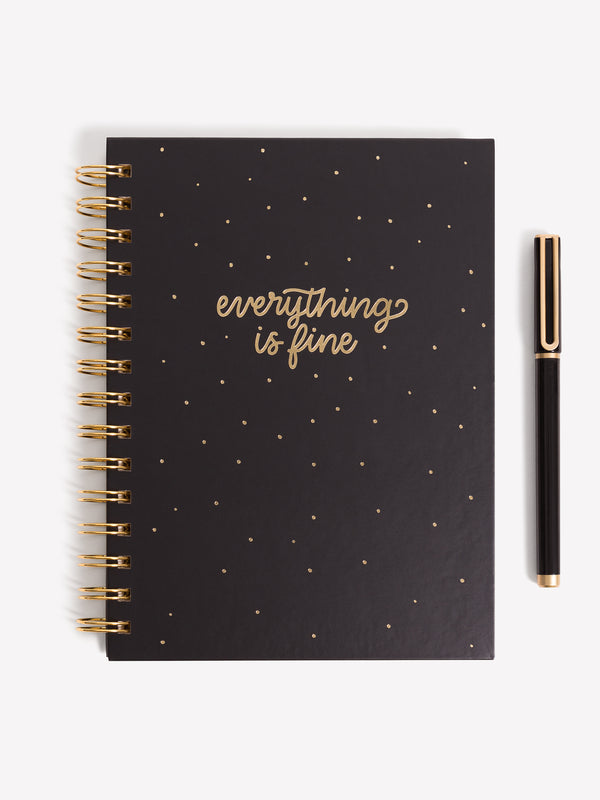 Everything Is Fine Spiral Bound Journal + Pen