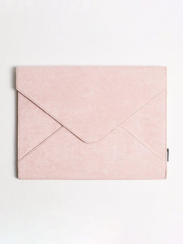 Blush Suede Document Holder, Button Closure