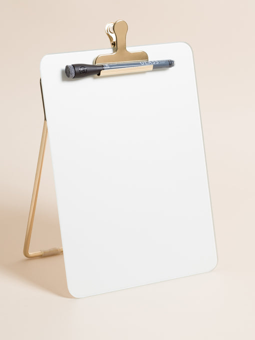 Glass + Gold Desktop Dry Erase Easel, 8.5