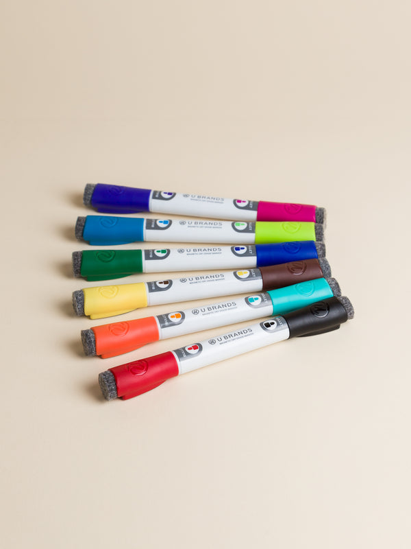 Double Ended Magnetic Dry Erase Markers, Set of 6