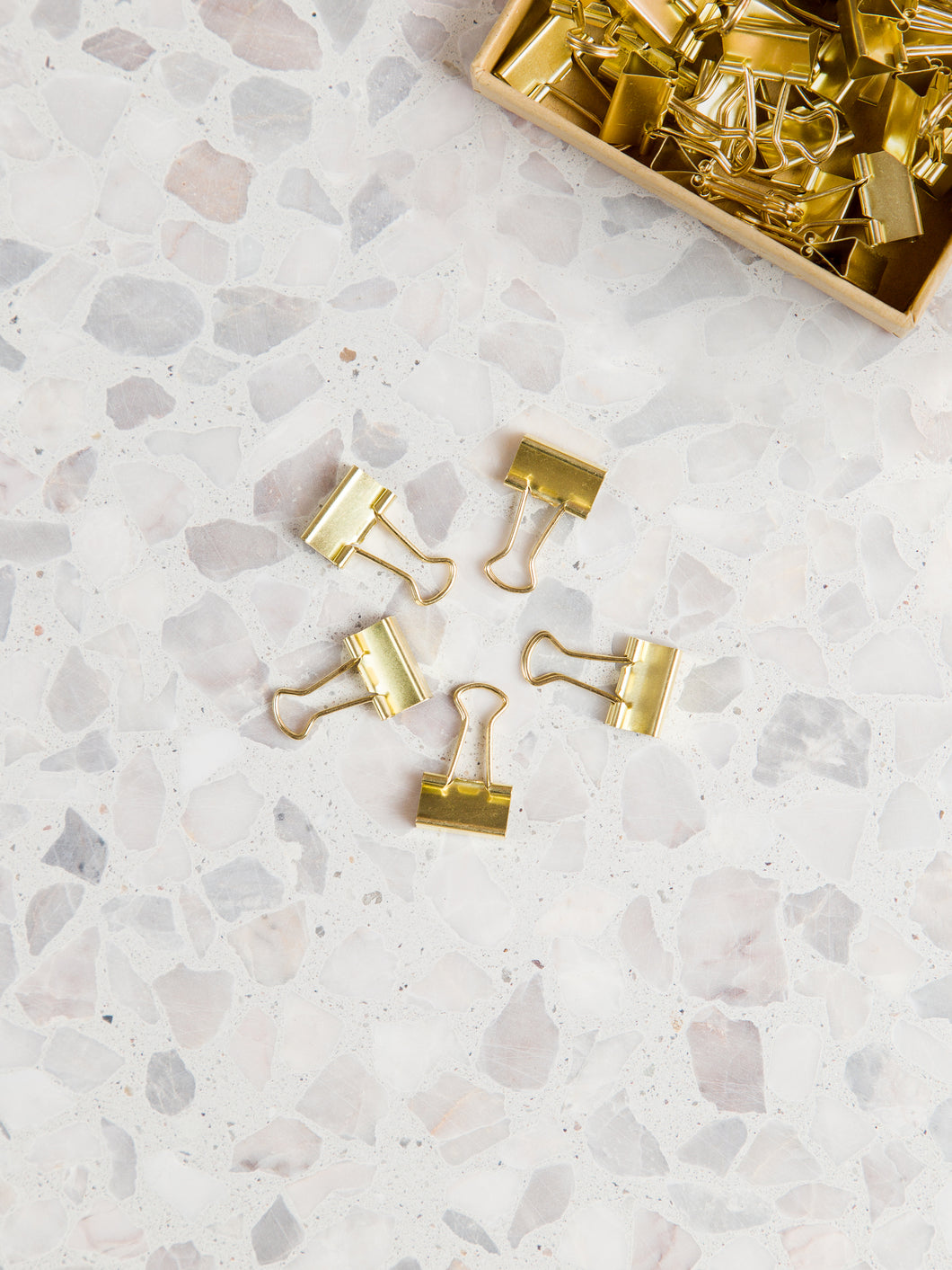 Gold Mini Binder Clips, Set of 40