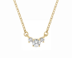 three stone diamond pendant solid gold necklace