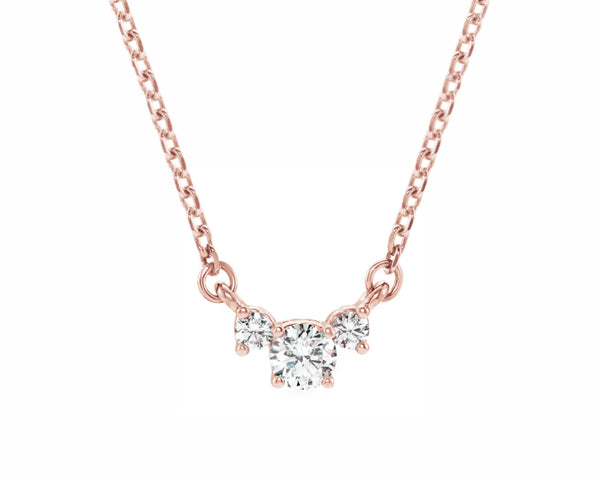three stone diamond pendant solid rose gold necklace