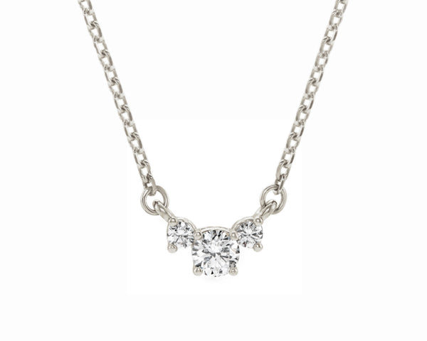 three stone diamond pendant solid white gold necklace