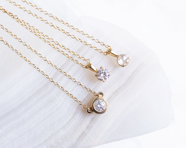 14k solid gold Rose Cut diamond Pendant necklace
