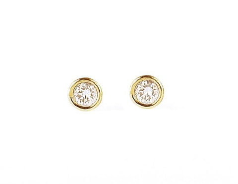 14k solid gold diamond bezel stud earrings