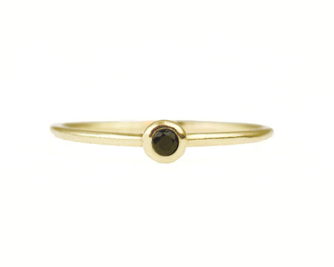 14k solid gold petite black diamond ring stacker