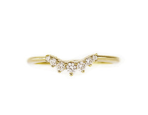 14k solid gold diamond curve ring