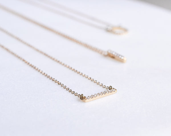 14k solid gold diamond bar necklace