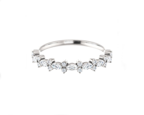 14k solid white gold and diamond Marquis and Round Diamond Ring
