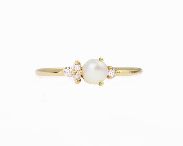 14k solid gold diamond pearl ring
