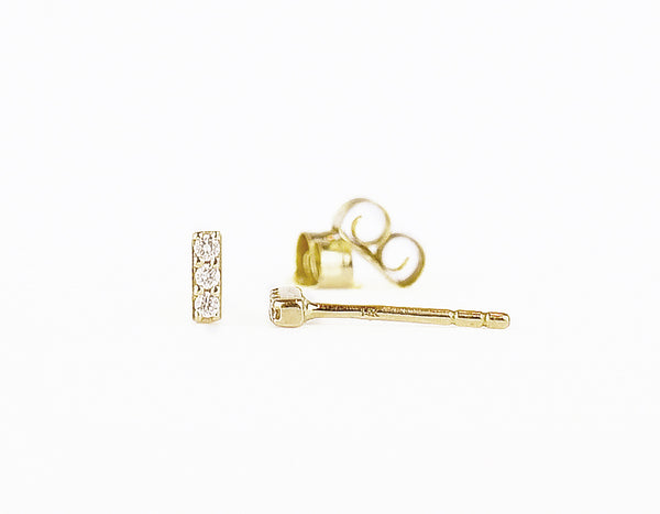 14k solid gold Petite Diamond Bar Earrings