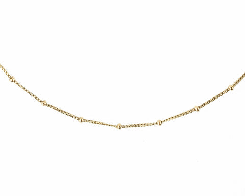 14k solid gold bead necklace