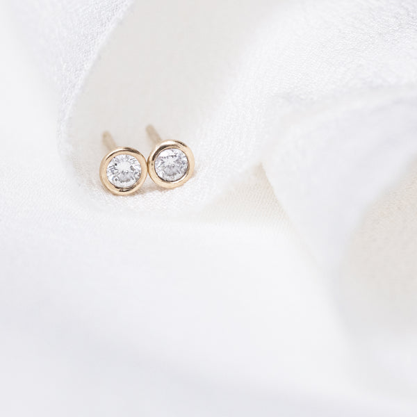 Petite Diamond Bezel Earrings