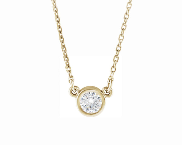 14k solid gold diamond bezel pendant necklace