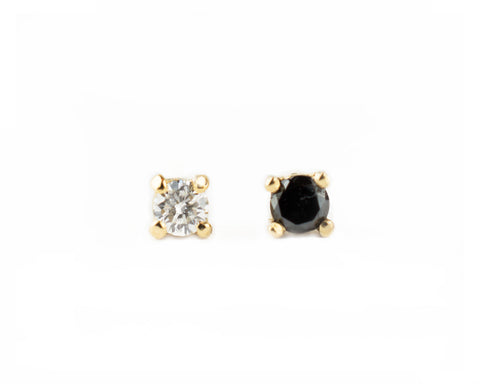 14k solid gold Petite Black and White Diamond Stud earrings