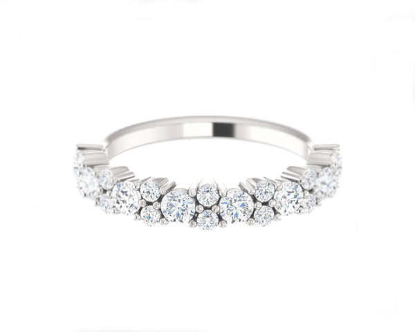 14k Solid White Gold Round Diamond Ring