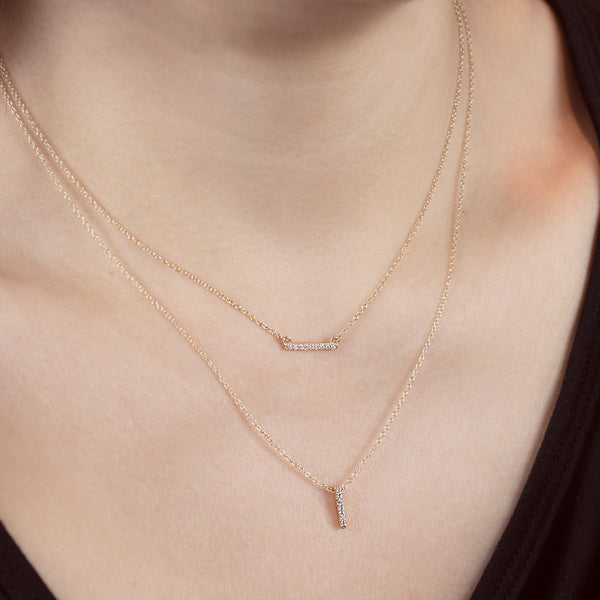 14k solid gold Vertical Horizontal Diamond Bar Necklace