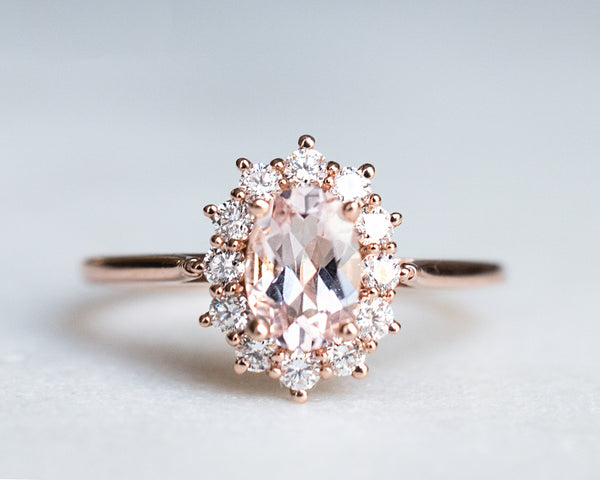Solid rose gold, morganite diamond ring