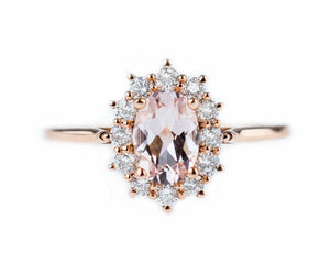 Morganite Halo Ring