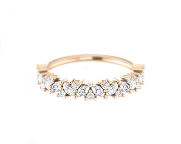 14k solid rose gold and diamond Marquis and Round Diamond Ring