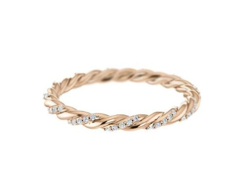 14k solid rose gold diamond twist ring