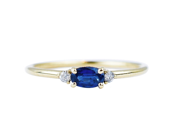 14k solid gold sapphire diamond ring