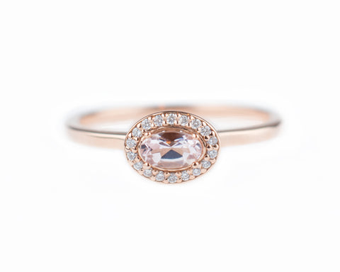 Small Morganite Halo Ring
