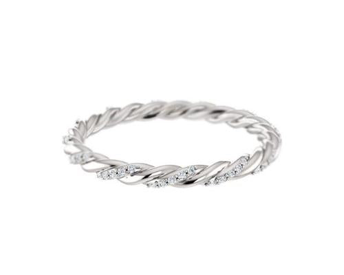 14k solid white gold diamond twist ring