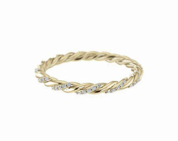 14k solid gold diamond twist ring