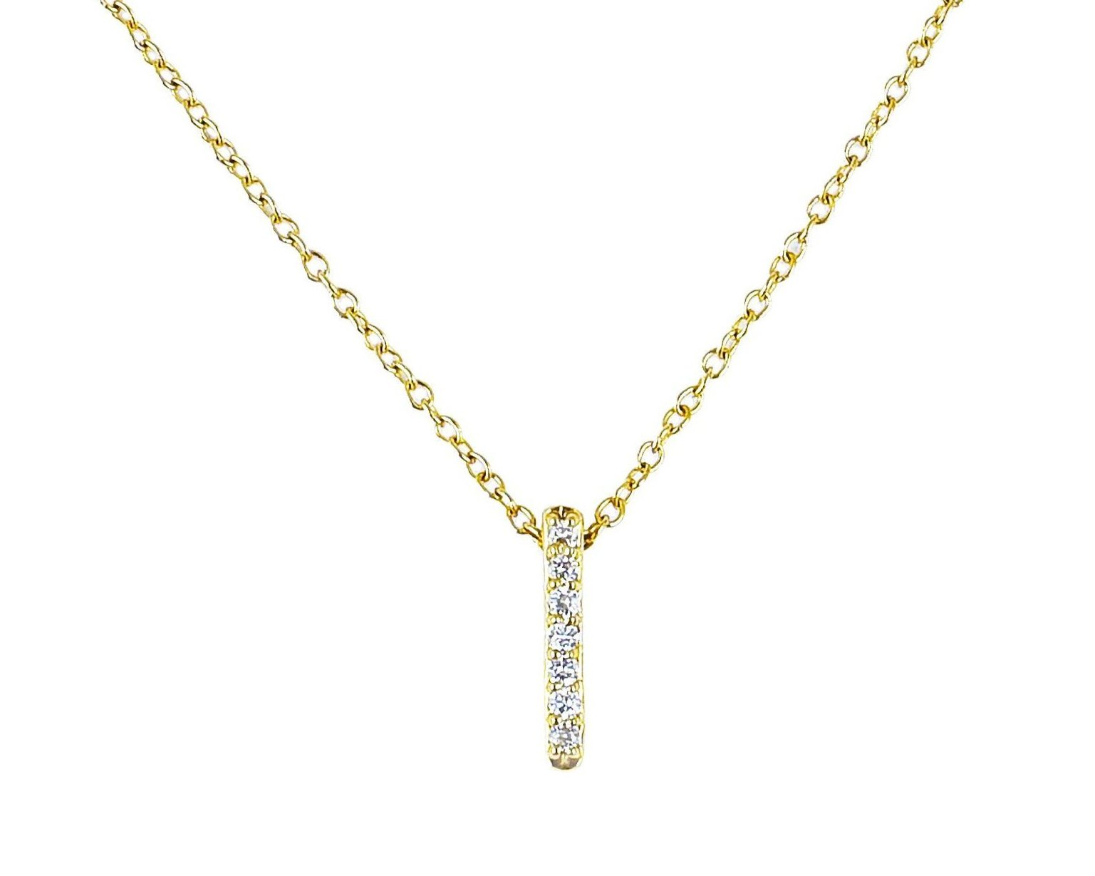 14k solid gold Vertical Diamond Bar Necklace