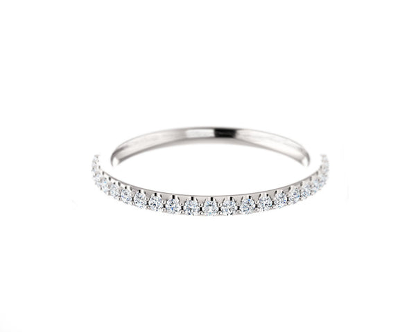1/4 ct solid white gold and diamond band ring