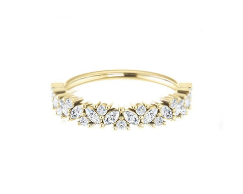 14k solid gold and diamond Marquis and Round Diamond Ring