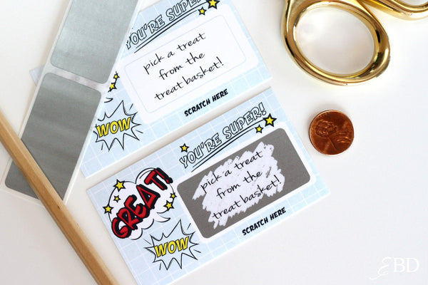 10 DIY Class Room Reward Scratch off Cards