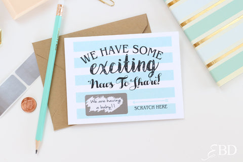 "2 DIY Custom "" We have some exciting news to share"" Scratch Off Note Cards"
