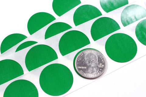 Green 1 inch Round scratch off stickers