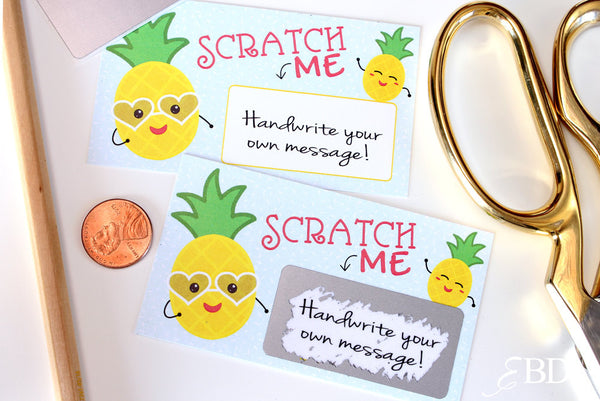10 DIY Pineapple Scratch off Cards