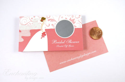 10 Coral Bridal Shower Scratch Off Cards