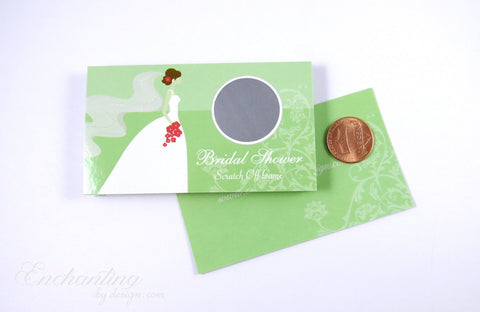 10 Lime Green Bridal Shower Scratch Off Cards