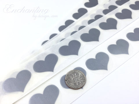 Silver .70 inch Heart scratch off stickers