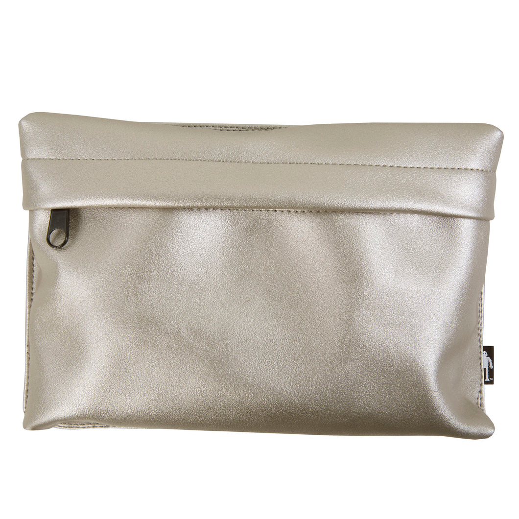 Acmebly Metallic Silver Pouch, front view