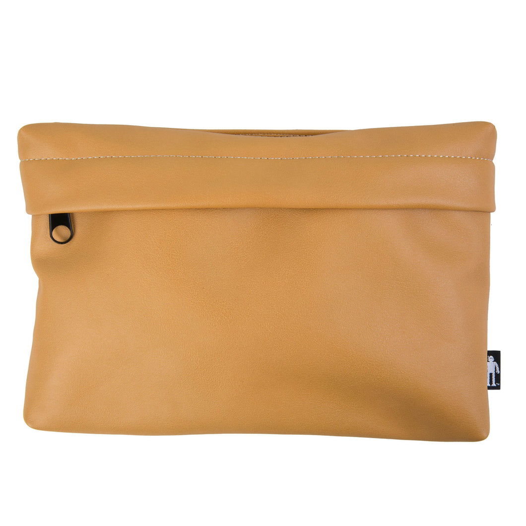 Acembly Tan Leatherette Pouch, front view