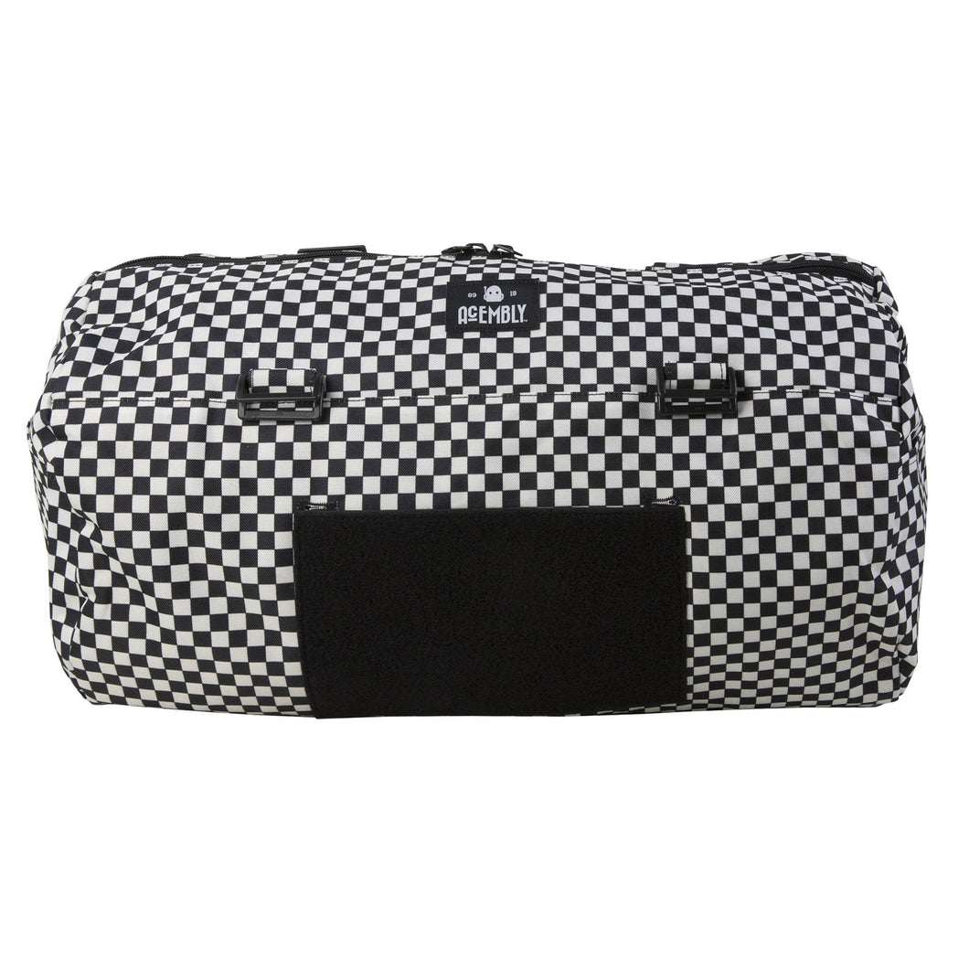 Acembly Black/White Check Duffel Bag, front view