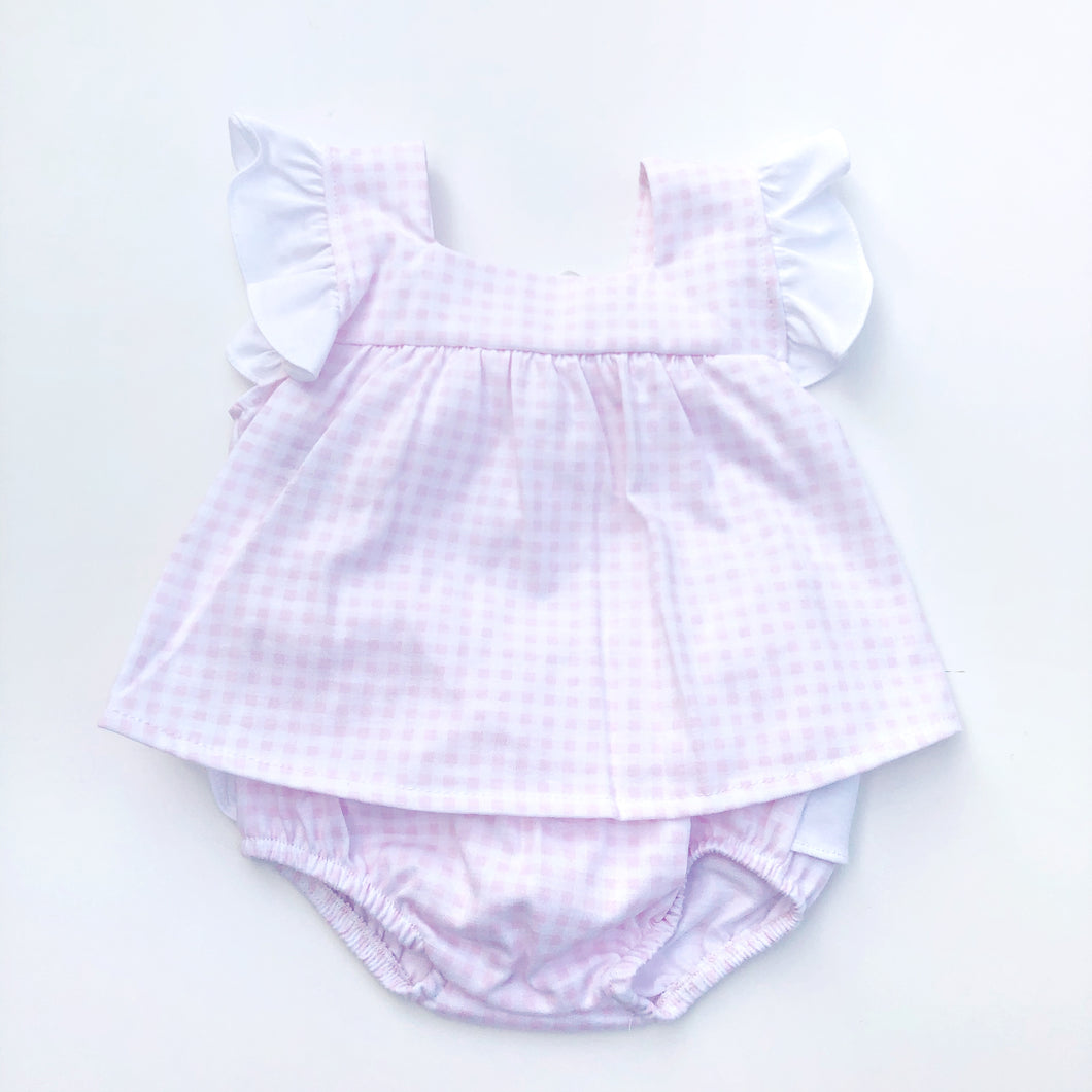 Babidu Girls Pink and White Check Dress Set