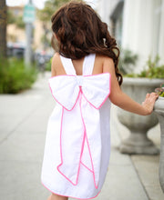 CHUA White Dress with Hot Pink Trim